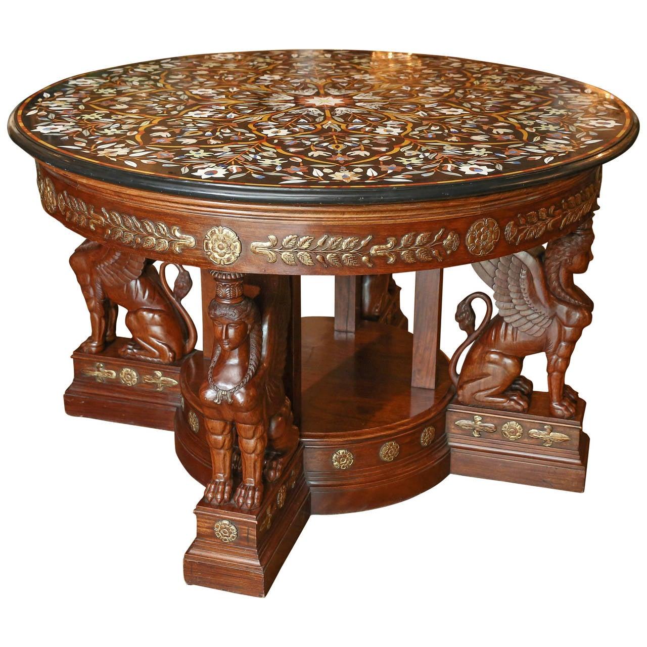 Round pietra dura semi precious stone top center table for Furniture centre table