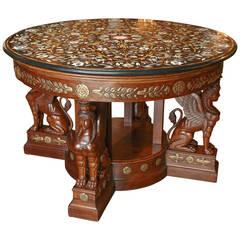 Round Pietra Dura Semi-Precious Stone-Top Center Table with Empire Style Base