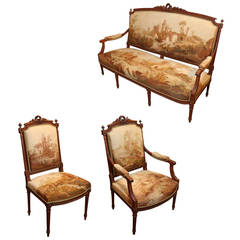 Louis XVI Style Carved Mahogany and Upholstered Salon Suite, 19th Century