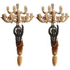Pair of Empire Style Sconces, 19th Century