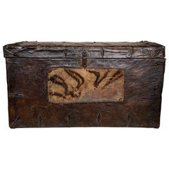 Leather Trunk with Tiger Skin