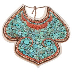 Rare Antique Tibetan Pectoral, Turquoise and Fossil Coral from Himalaya