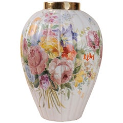 Italian Signed Vintage  Hand-Painted Vase or Lamp Base -