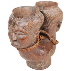 Vintage African  wooden  Cup In the Style of a Queen's Bowl