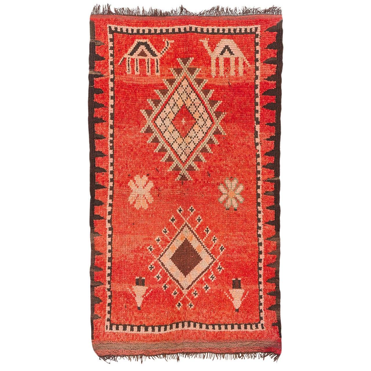 Vintage Moroccan Area Rug For Sale At 1stdibs: Vintage Oulad Bou Sebaa Or Rehamna Rug, Morocco For Sale