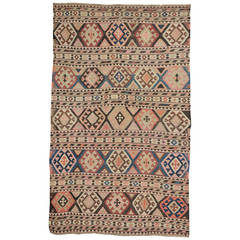 Caucasian Old Kilim Shirvan, Rare Pastel Colors
