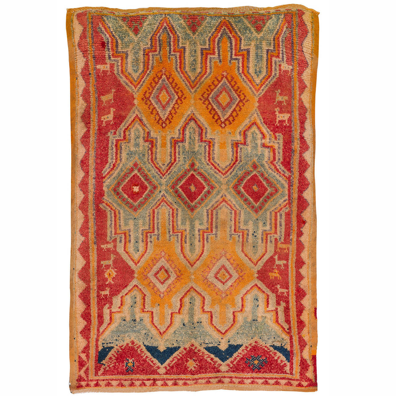 Vintage Ait Bougemmaz Or Azilal Rug Morocco N 3804 For