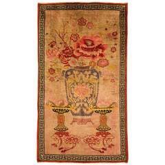 "Vintage  rare Sinkiang Chinese carpet, ""Big Vase"", also wall hanging"
