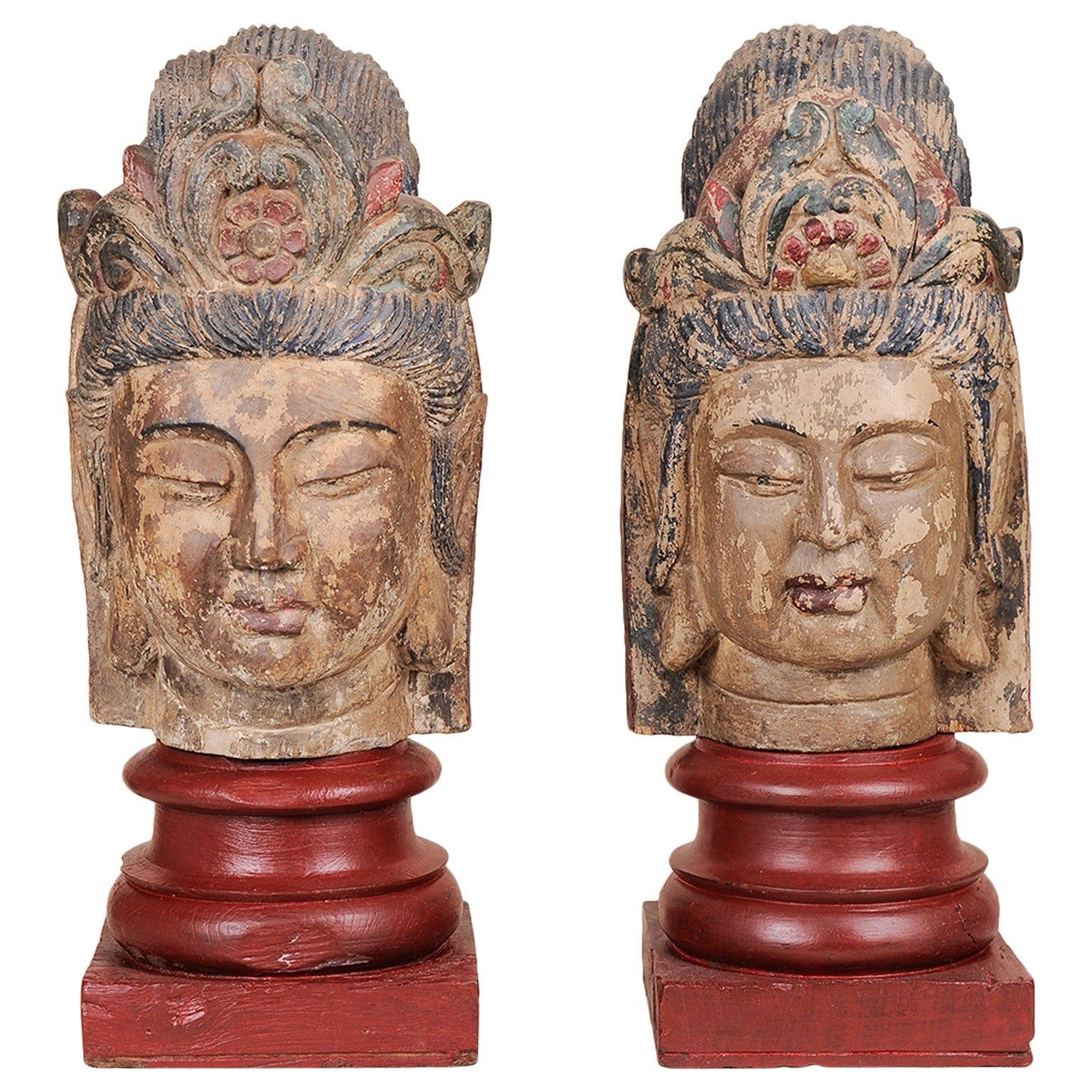 Old Buddha Wooden Sculptures, Polychromy Traces