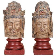 Old Buddha Wood Heads Sculptures, Polychromy Traces