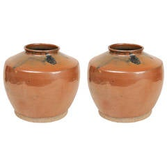 Chinese Old Glazed Terracotta Vases, Suitable for Lamps