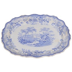 Antique English Blue and White Large Dish or Platter