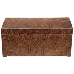 Antique French Wooden  Box, covered Impressed Paper