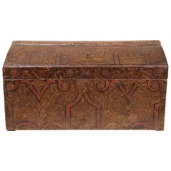 Antique French Wooden Casket, Covered Impressed Paper