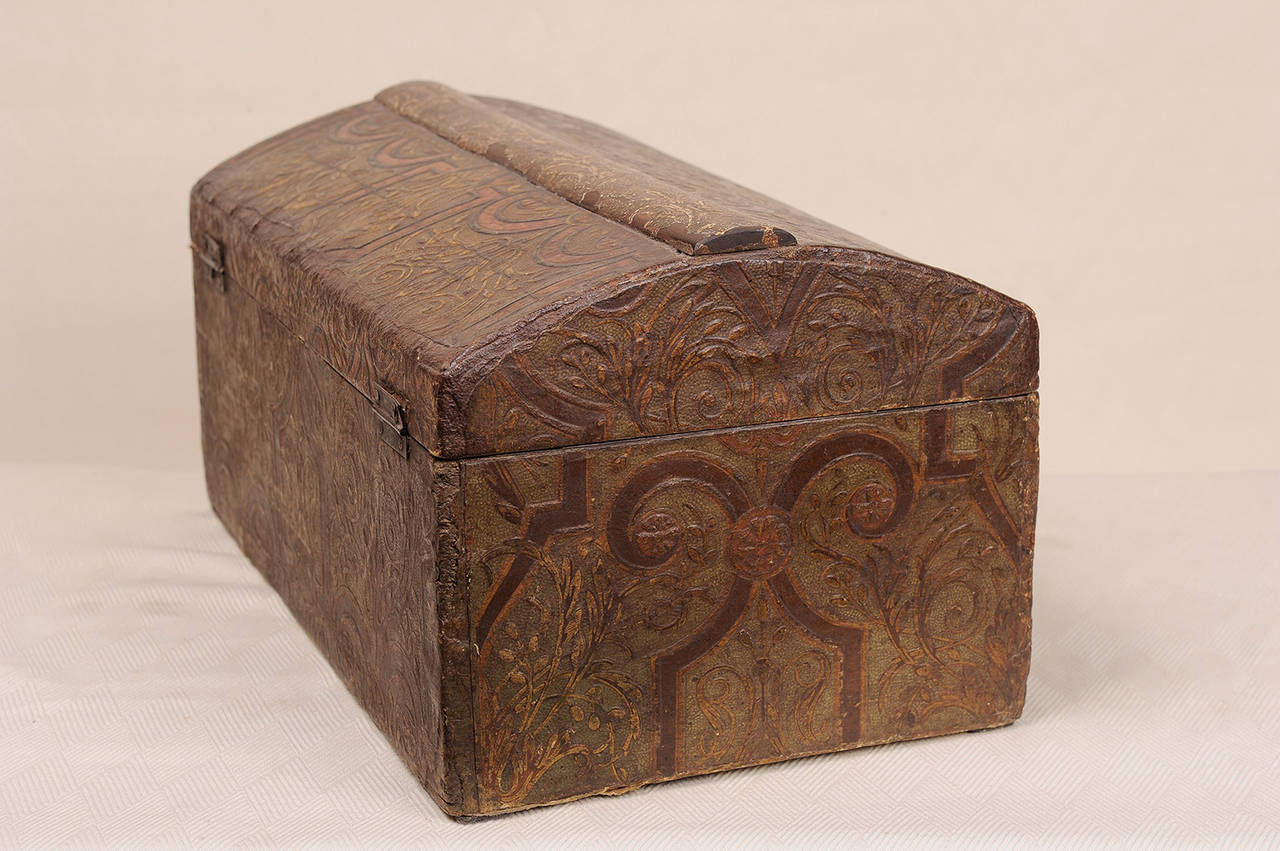 Antique french wood box covered impressed paper for sale for Furniture decoration paper