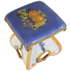 Tuscan Ceramic Clay Stool, Hand-Painted