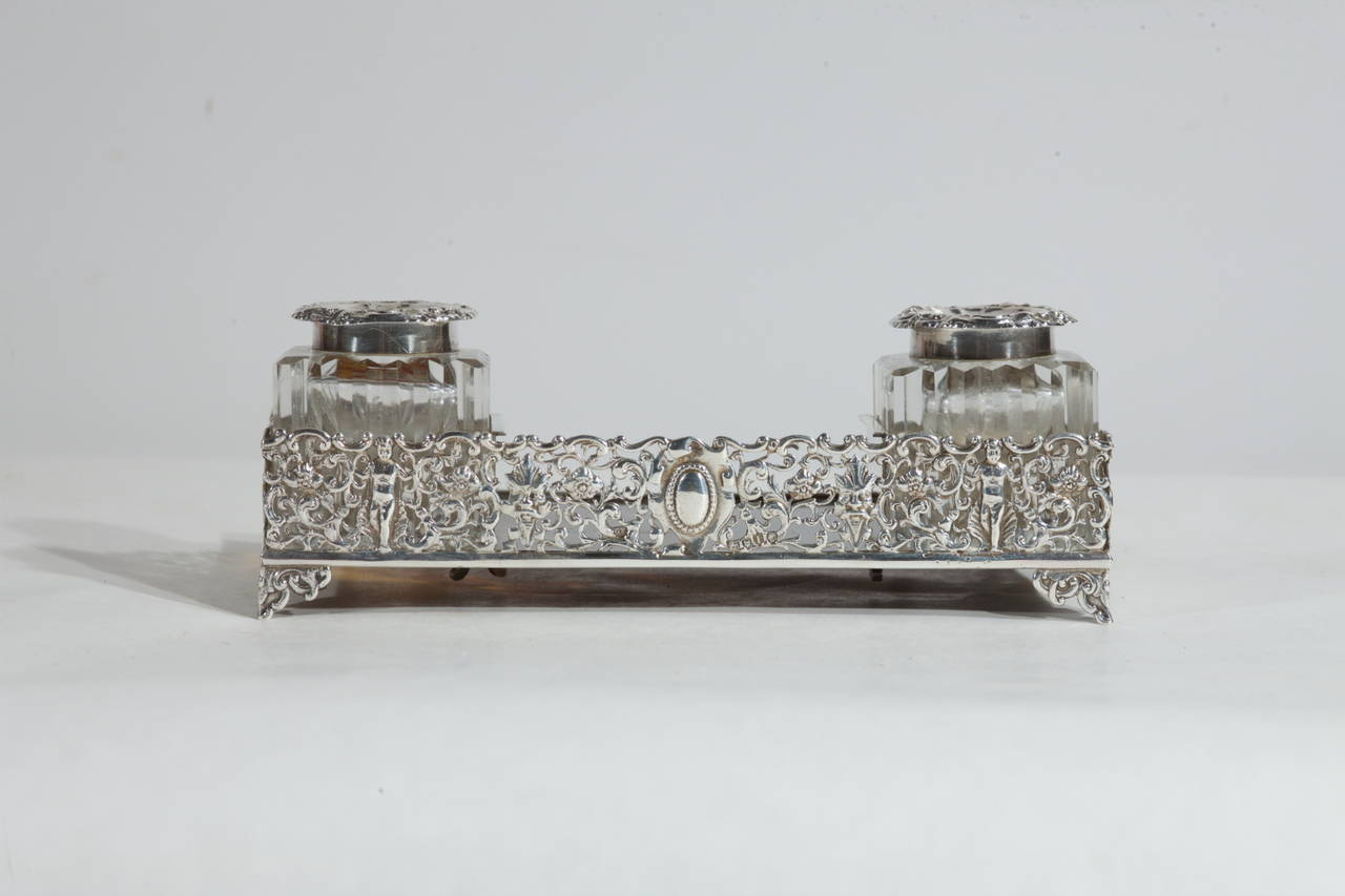 Hand-Carved  Silver and Tortoise Antique Victorian English Inkwell For Sale
