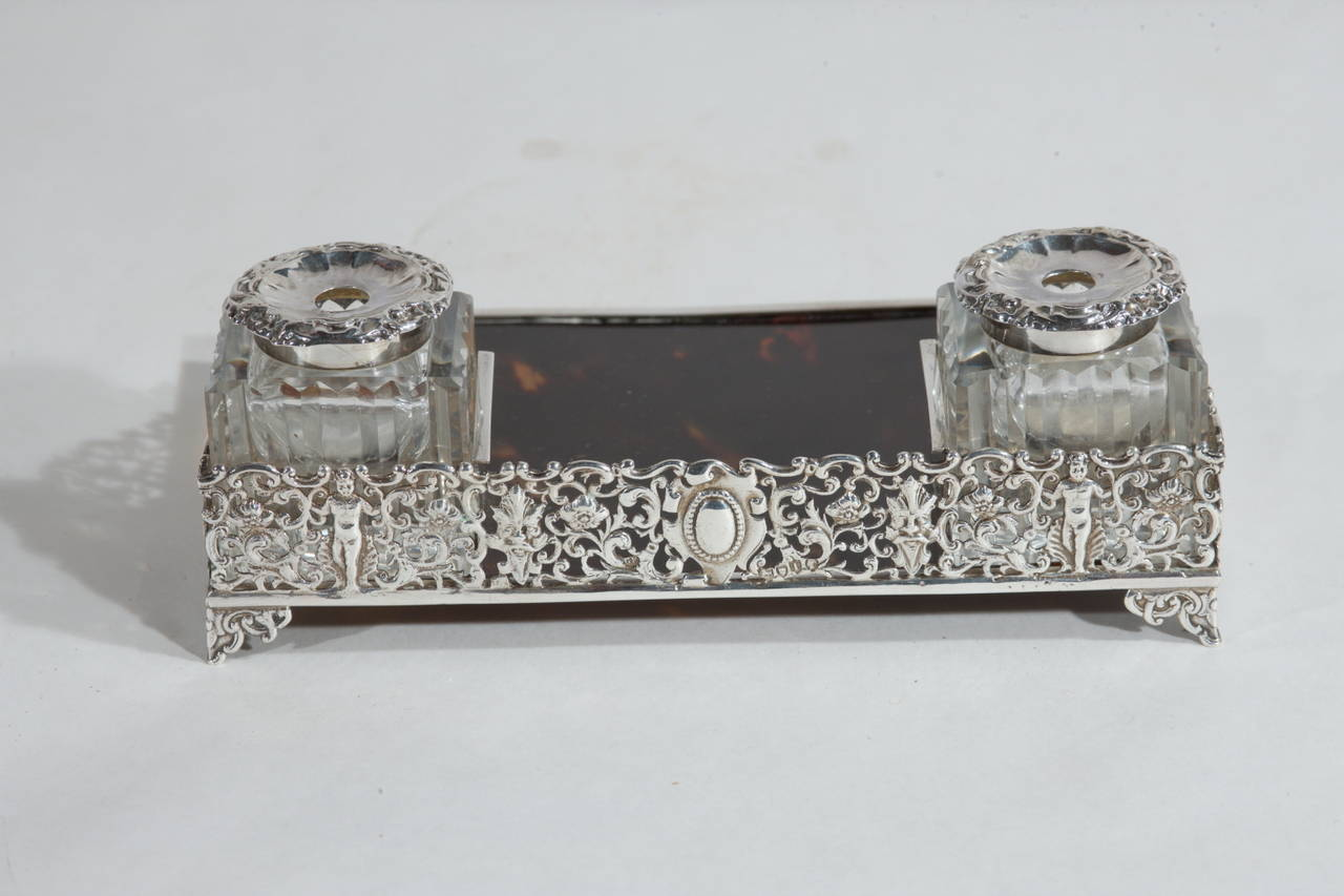 19th Century  Silver and Tortoise Antique Victorian English Inkwell For Sale