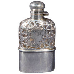English  Silver Pocket Wiskey  Flask