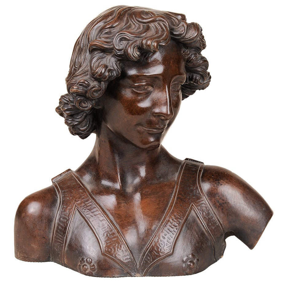 "Italian signed Terracotta Bust from Antique ""Davide del Verrocchio"""