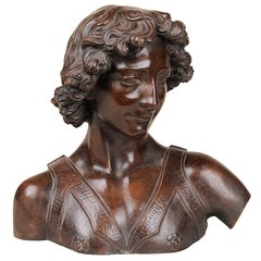"Italian signed Terracotta Bust from Antique ""Davide del Verrocchio"""