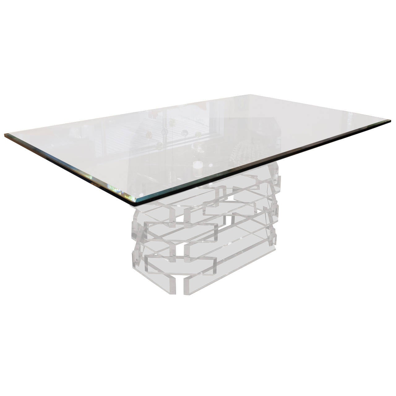 Lucite Base Dining Table With Thick Beveled Glass Top At 1stdibs