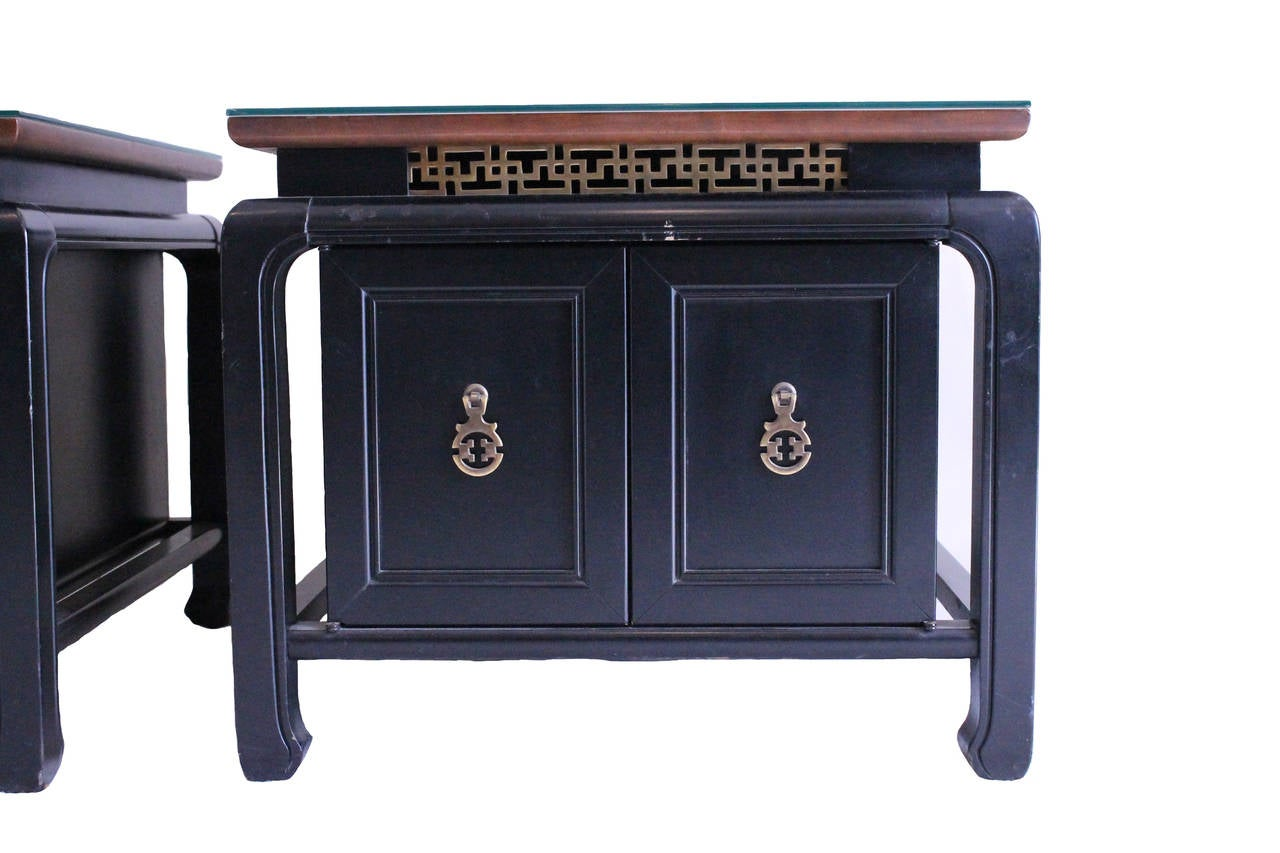 pair of black low bedside tables at 1stdibs