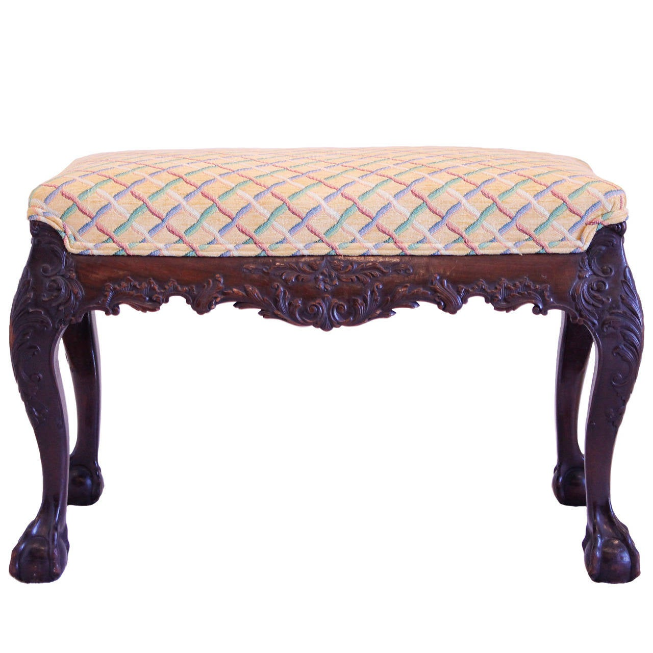 Chippendale Style Carved Mahogany Bench At 1stdibs