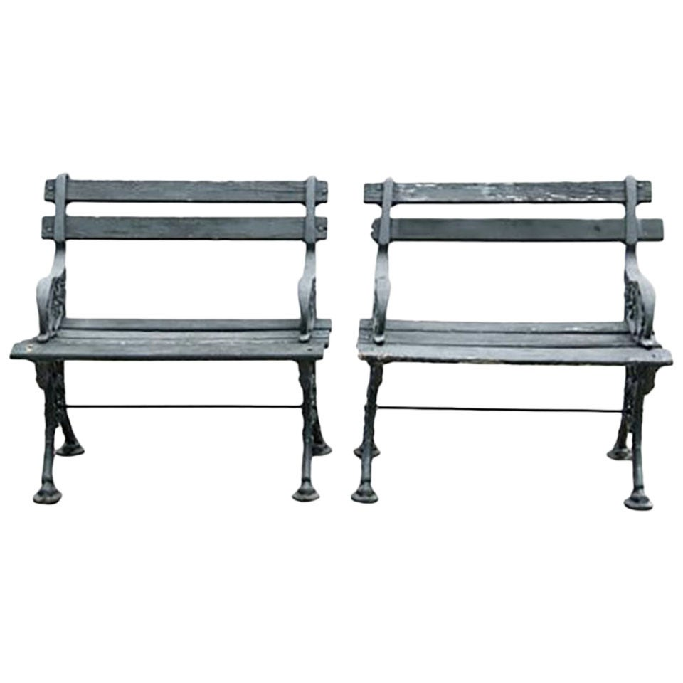 Early 20th century pair of cast iron and wood garden - Wood and iron garden bench ...
