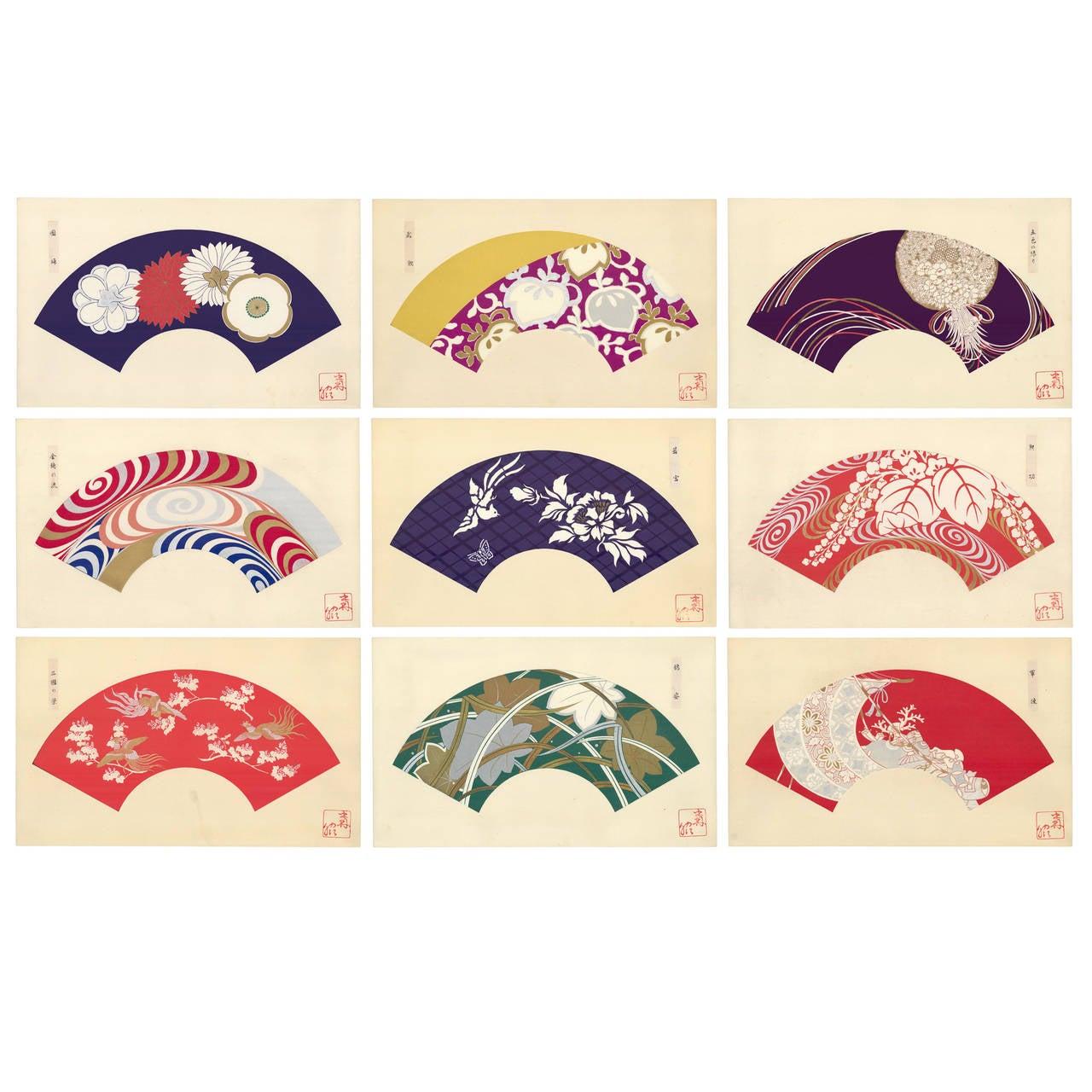 Japanese Fan Design Woodcut Prints Circa 1930 Set Of