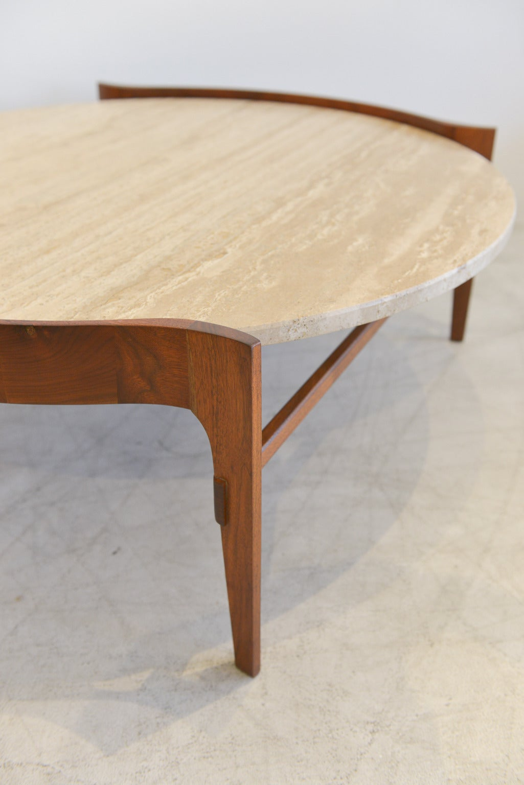 Travertine And Sculptural Walnut Coffee Table At 1stdibs