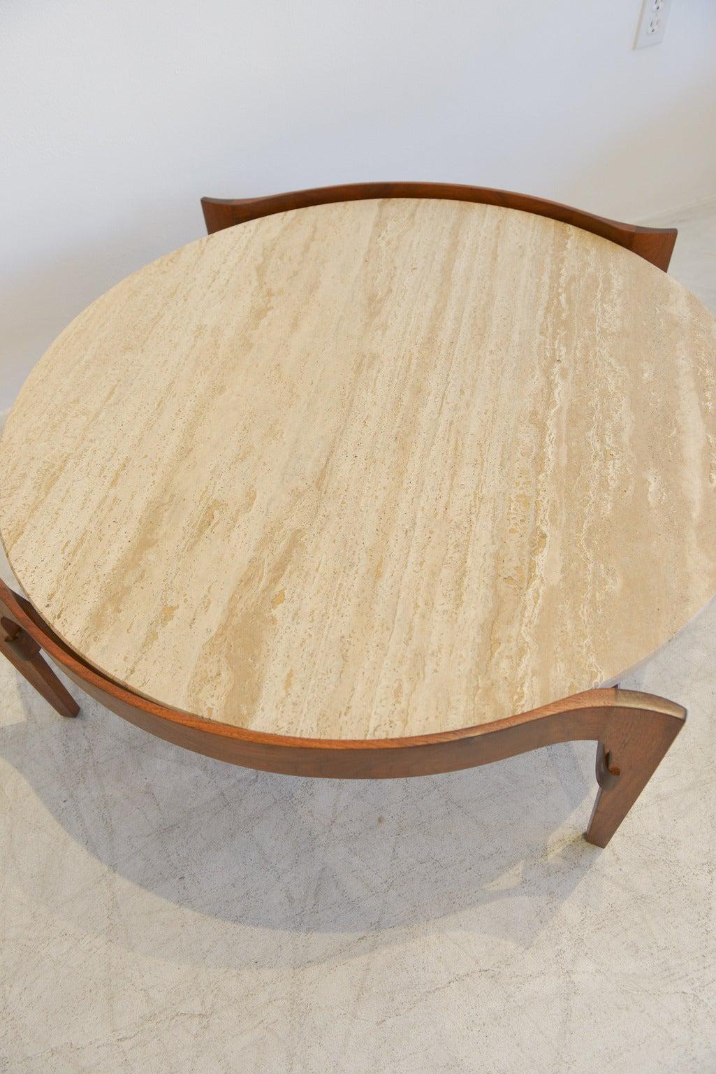 Mid-Century Modern Travertine and Sculptural Walnut Coffee Table