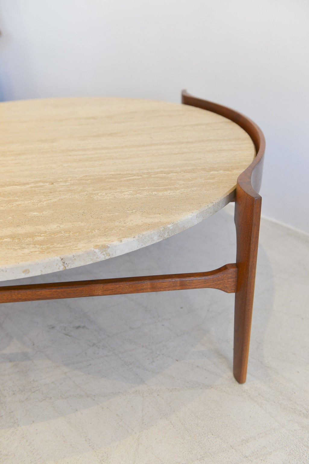 American Travertine and Sculptural Walnut Coffee Table