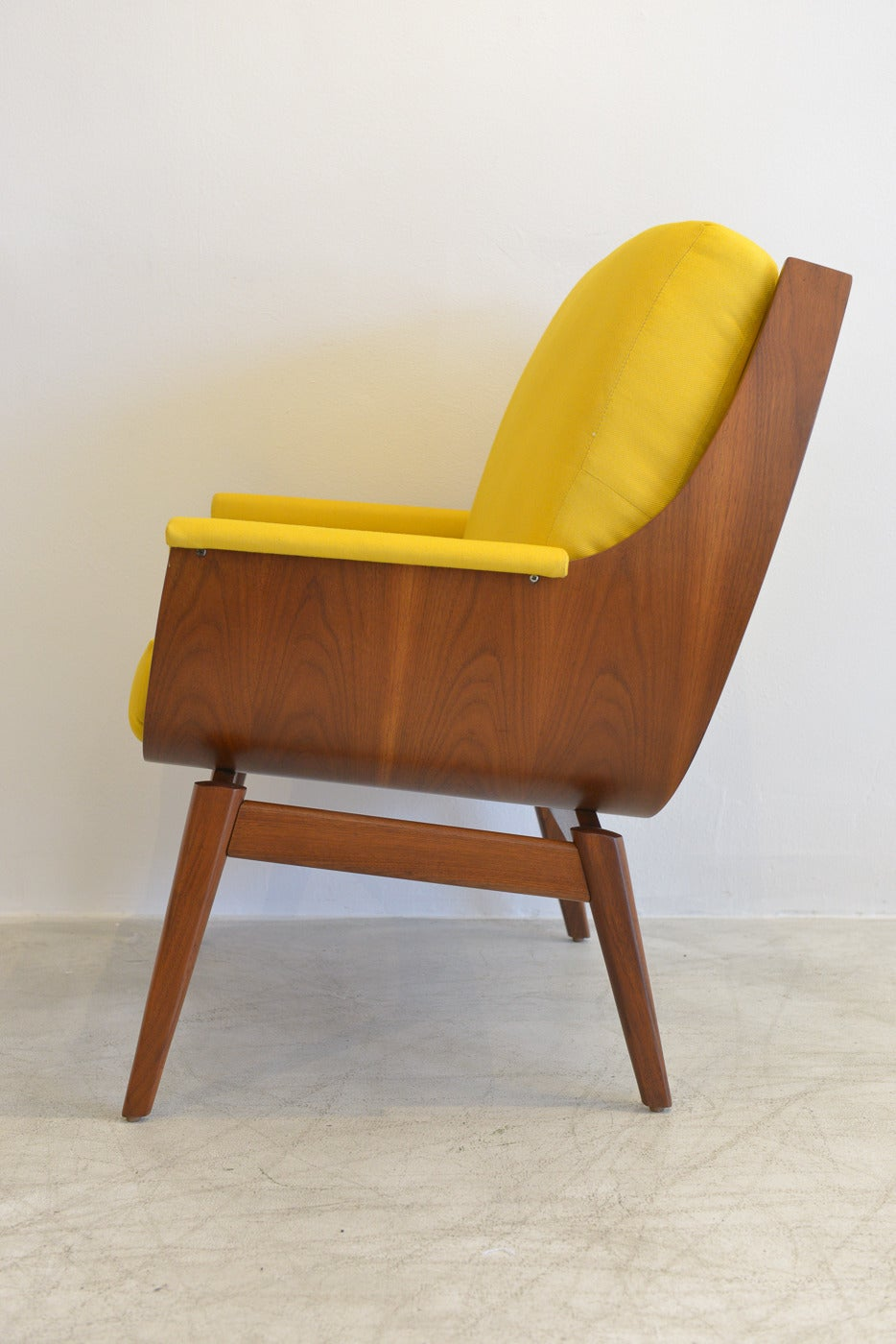 Walnut Bentwood Scoop Chair In Bright Yellow At 1stdibs