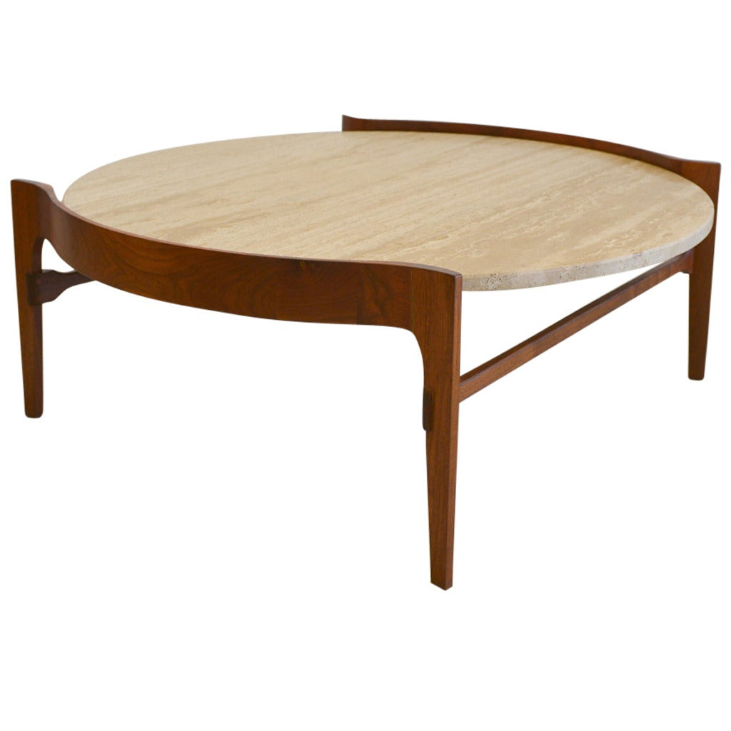 Travertine and Sculptural Walnut Coffee Table