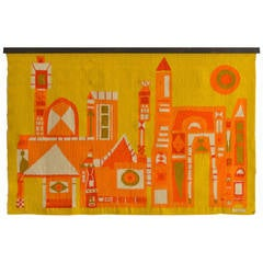 Evelyn Ackerman Wool Tapestry Titled 'Buildings,' circa 1967