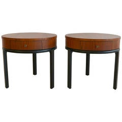 Pair of Mahogany Drum Tables with Ebonized Legs