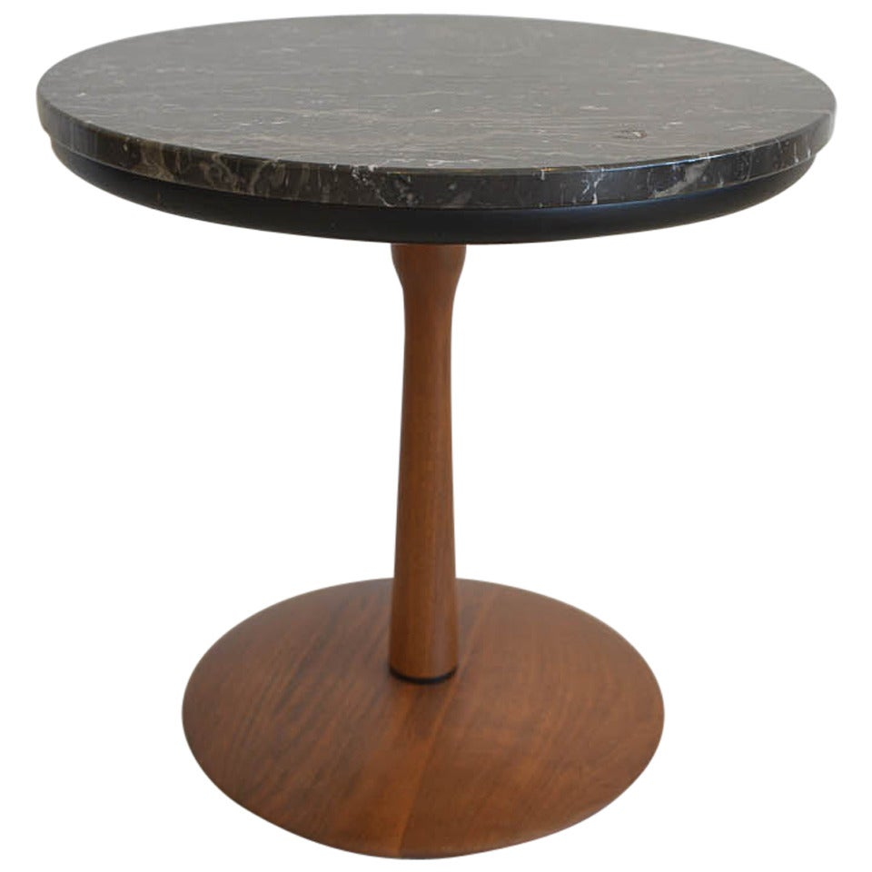 Walnut and marble side or accent table at 1stdibs for Walnut side table