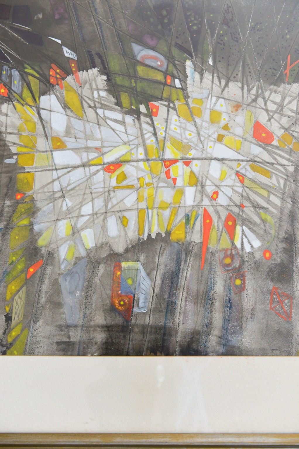 This original abstract watercolor on canvas is signed by the artist Emily B. Johnson '61.  Wonderful color and subject matter, framed in a vintage frame with linen mat under glass. Nice neutral tones with a splash of orange, yellow and greens. Nice