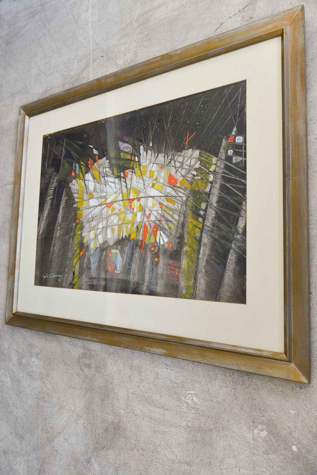Mid-Century Modern Original Abstract Watercolor by Emily B. Johnson '61 For Sale