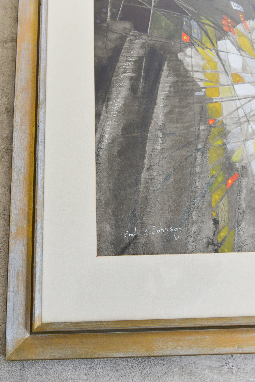 Original Abstract Watercolor by Emily B. Johnson '61 In Excellent Condition For Sale In Costa Mesa, CA