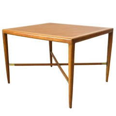 Mahogany and Brass X-Base Side or End Table by Tomlinson