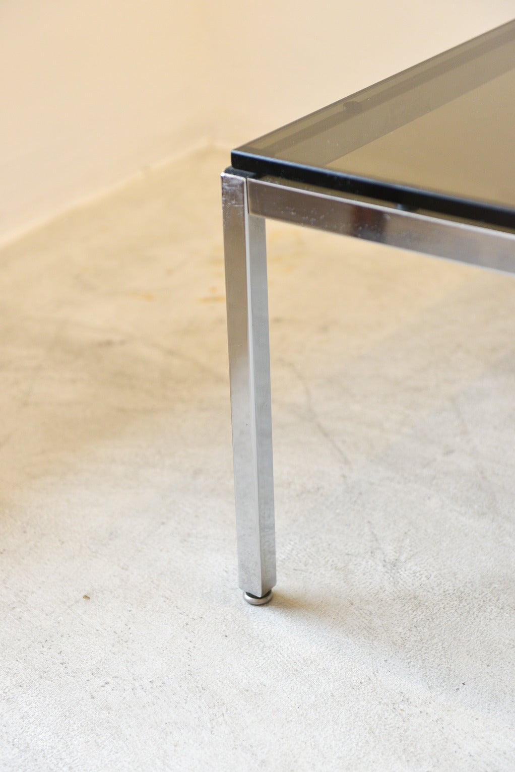 Smoked Glass And Chrome Side Table By Steelcase At 1stdibs
