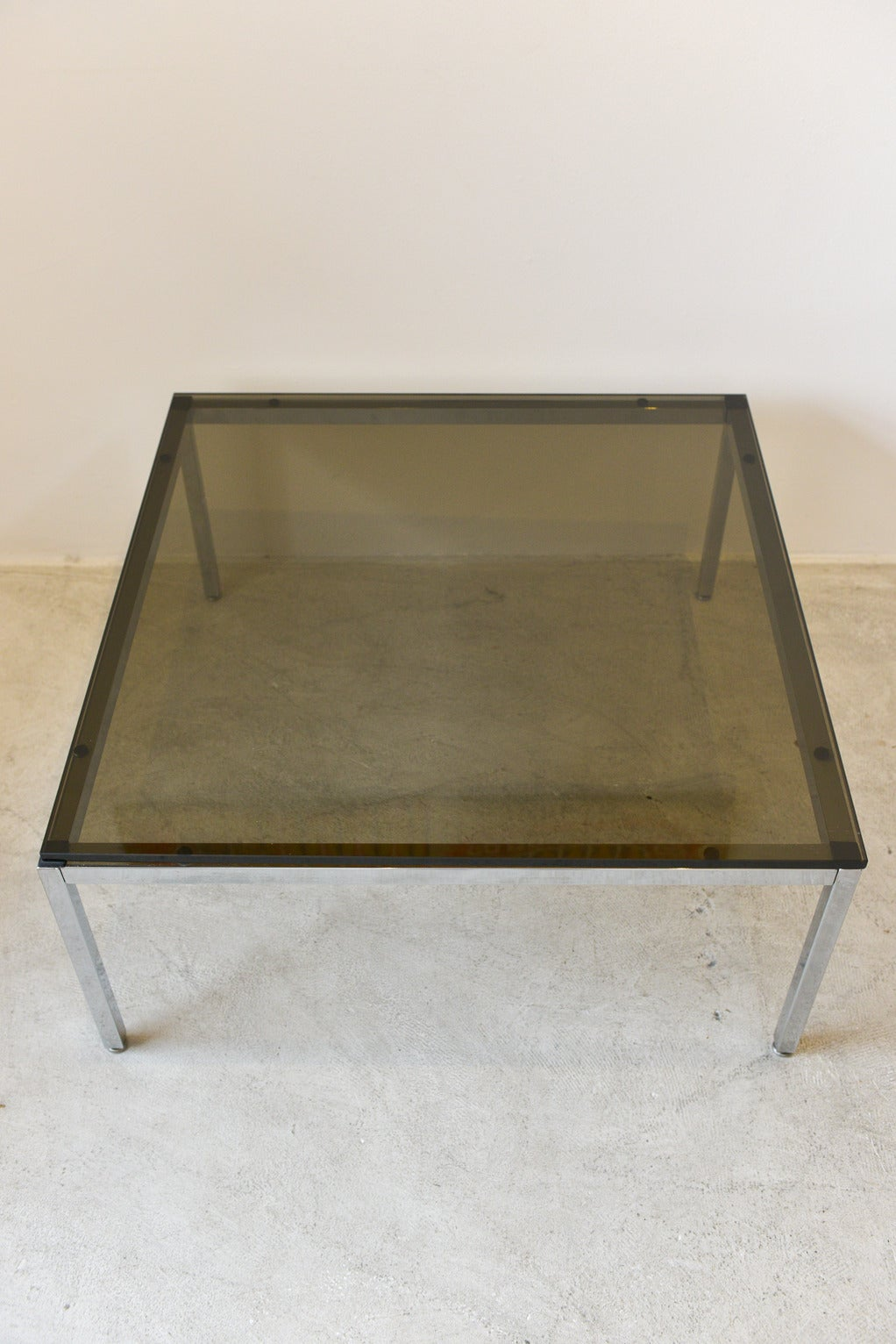 smoked glass and chrome side tablesteelcase at 1stdibs