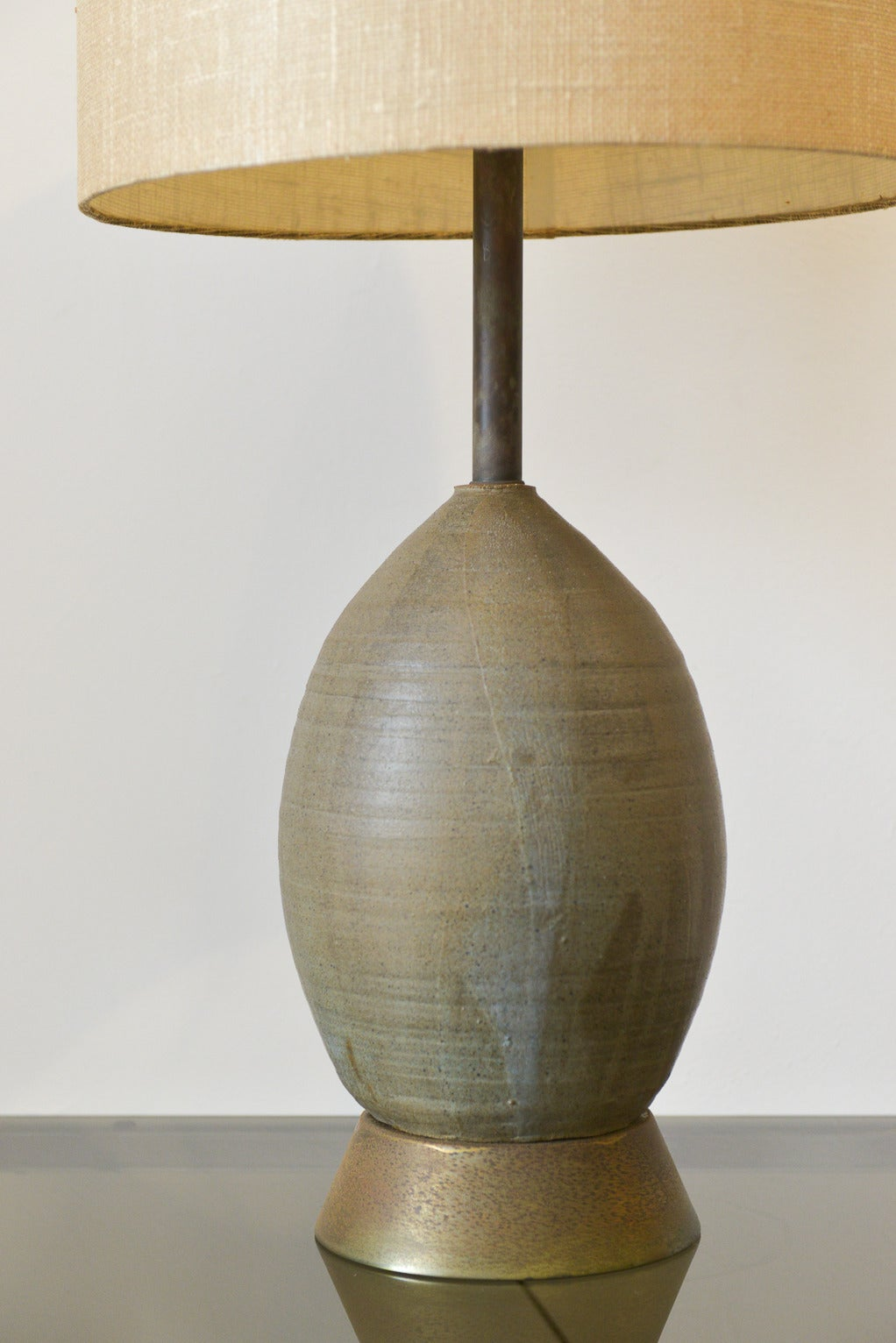 Hand Thrown Ceramic Lamp With Brass Accents At 1stdibs