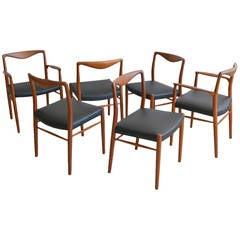 Rare Set of Six Kai Lyngfeldt Larsen for Søren Willadsen Dining Chairs
