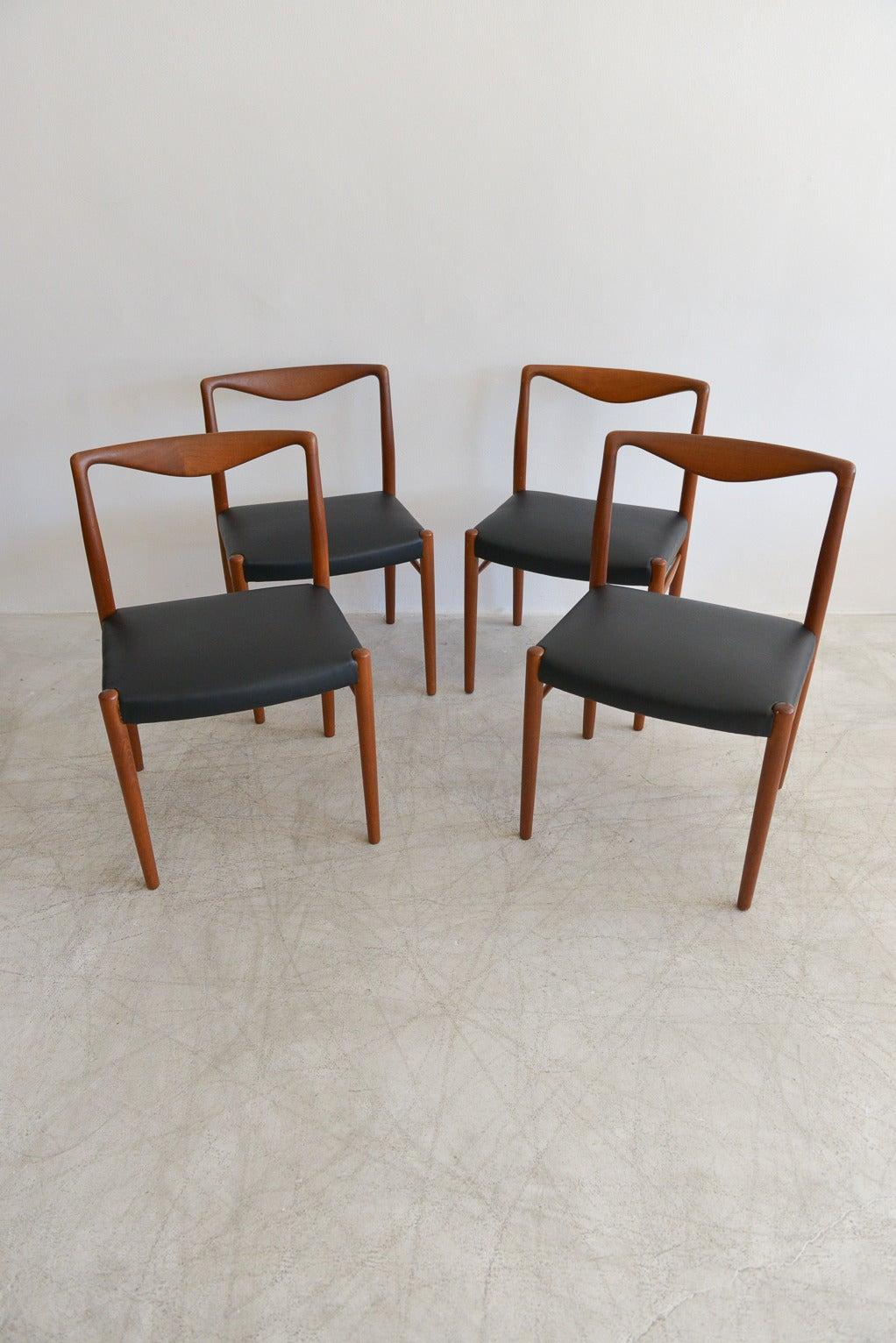 Perfect Rare Set Of Six Kai Lyngfeldt Larsen For Søren Willadsen Dining Chairs 3