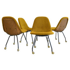 Rare Set Early Charles Eames Wire Mesh Chairs