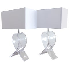 Pair of Lucite Bow Tie Lamps by Herb Ritts for Astrolite