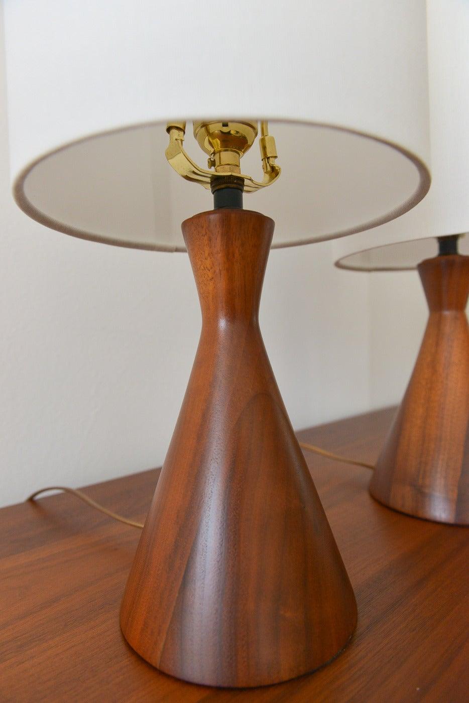 Pair of Petite Danish Walnut Table Lamps at 1stdibs